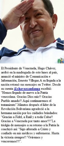 Presidente Hugo Chávez regresó a Venezuela